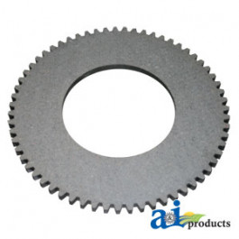 "Clutch Plate: 10.75"" OD, 5.375"" ID, 63 ext. teeth, fiber machine clutch"