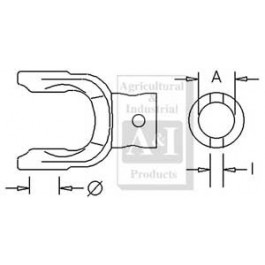 "Implement Yoke, Round Bore 1 1/4"" w/ 3/8"" Pin Hole"