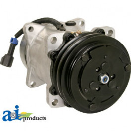 """Compressor Sanden Style (4708) w/ Clutch (2A groove 5"""" pulley, 12V, SD7H15 series)"""
