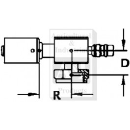 Steel 90 degrees Female Tube-O w/ R134A Service Port Fitting