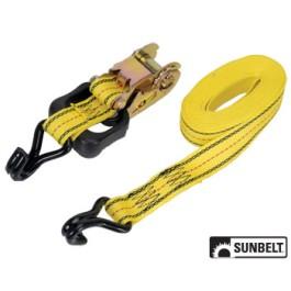 PRO GRIP Ratchet Tie Down, Standard Duty, 16' x 1-1/2', w/ Hooks, Yellow