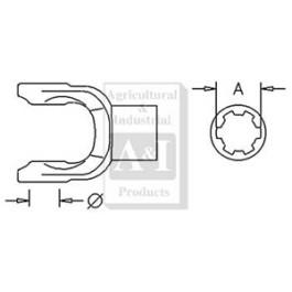 Implement Yoke, Splined 1 3/8' - 21 Spline w/ Slide