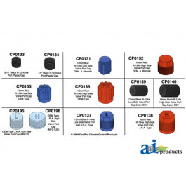13mm Blue R-143a Low Side Valve Port Cap J.R.A. Type (4 Pack)