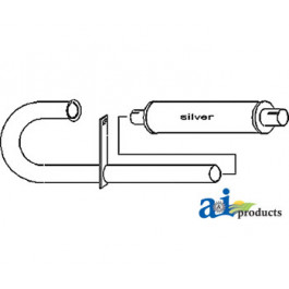 Vertical Muffler & Pipe Unassembled