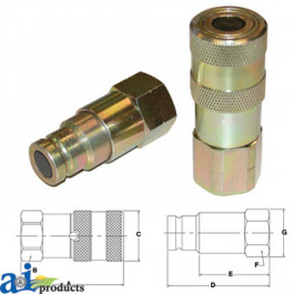 "Flat Face Hydraulic Coupler Socket & Plug Set (1/2"" NPT)"