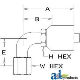 (HW-FJX90) Female JIC 37 degrees - Swivel - 90 degrees Elbow