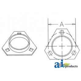 3 Bolt Triangular Flange Half