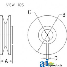 Pulley, 1V-Groove W/ Threads