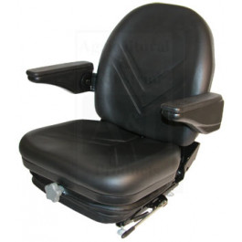 High Back Industrial Seat w/ Suspension, Slide Track & Armrests, BLK