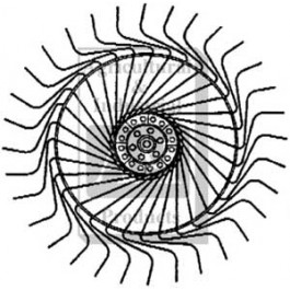 Rake Wheel Complete, (LH) w/ 7mm Tines