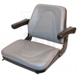 Seat, Universal w/ Slide Track & Flip-Up Armrests, Plastic Pan, GRY VINYL
