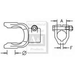"""Implement Yoke, Round Bore 1 3/8"""" w/ 5/16"""" Keyway & Clamp Bolt"""