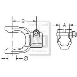 "Implement Yoke, Splined 1 1/2"" - 23 Spline w/ Clamp Bolt"