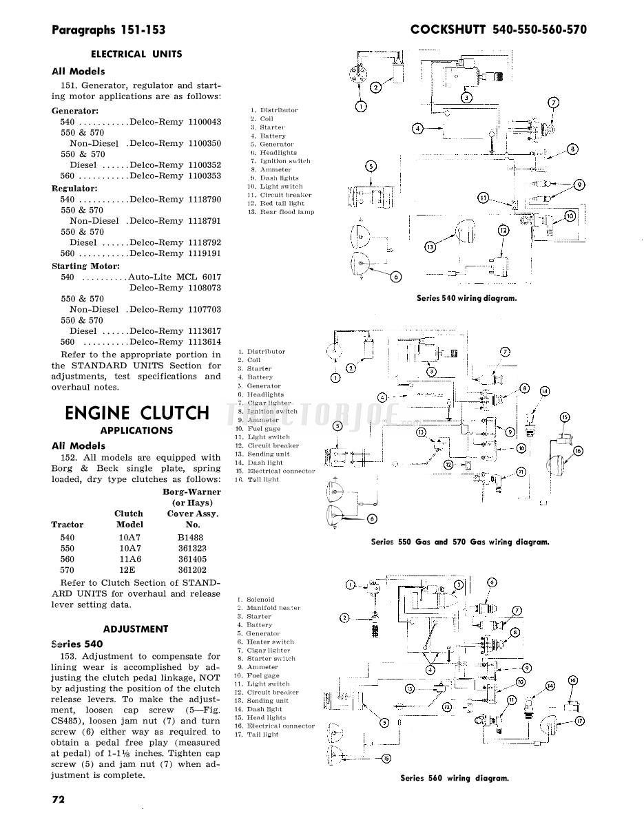 Cockshutt 540 Series Shop Manual Wiring Diagrams Model 560 Diagram