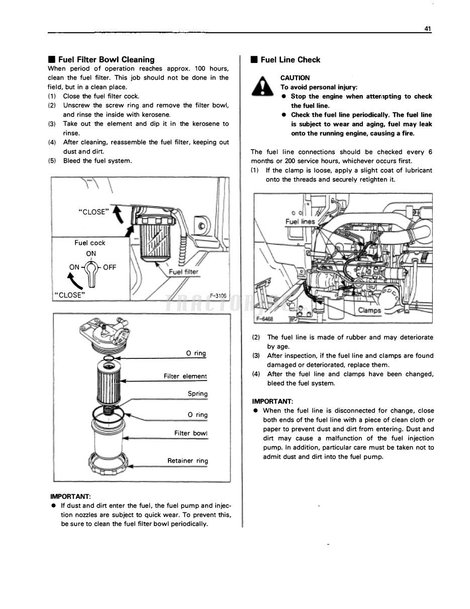 be sure to clean the fuel filter bowl periodically.