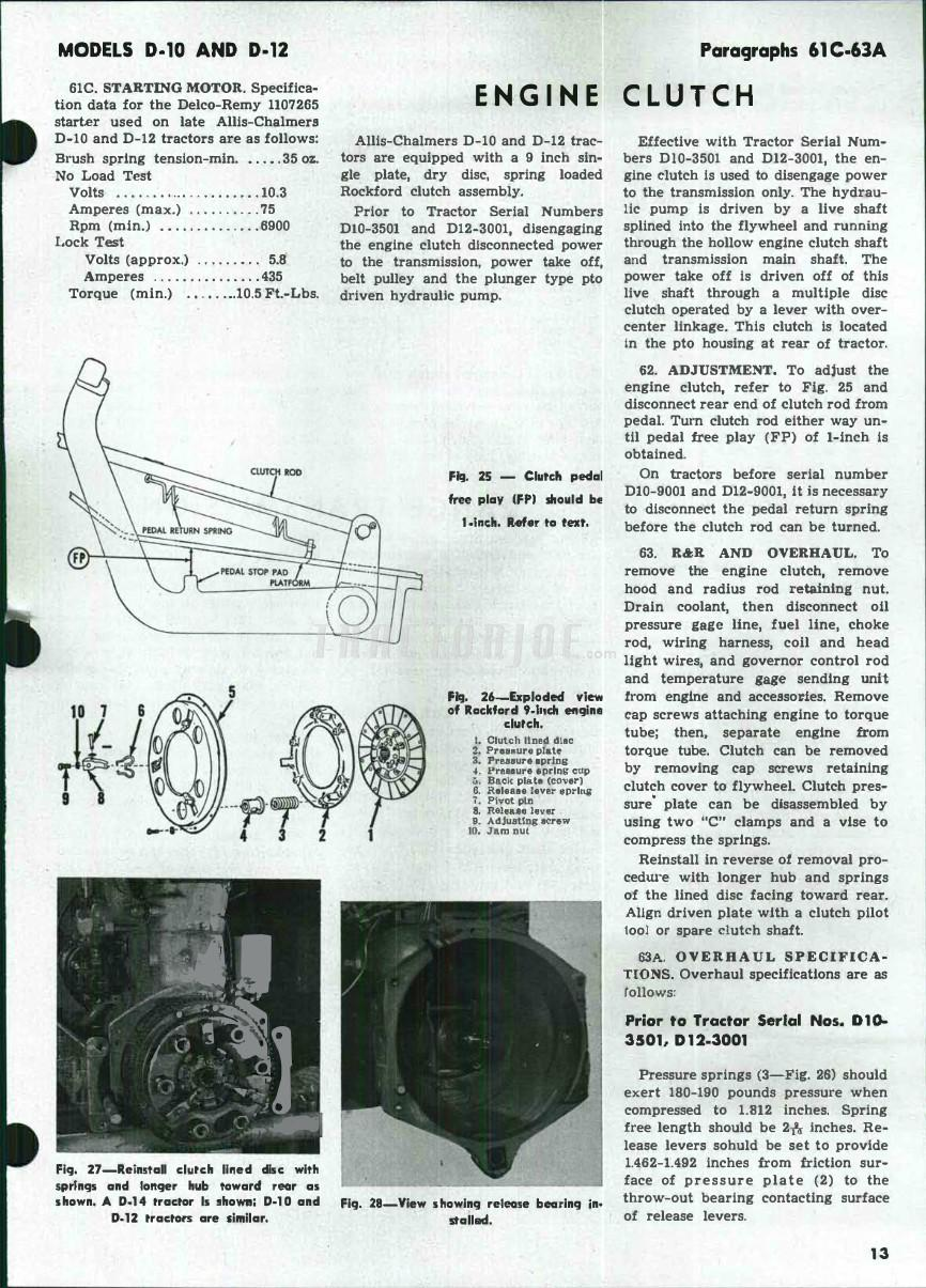 Allis Chalmers Models D-10, D-10 Series III, D-12, D-12