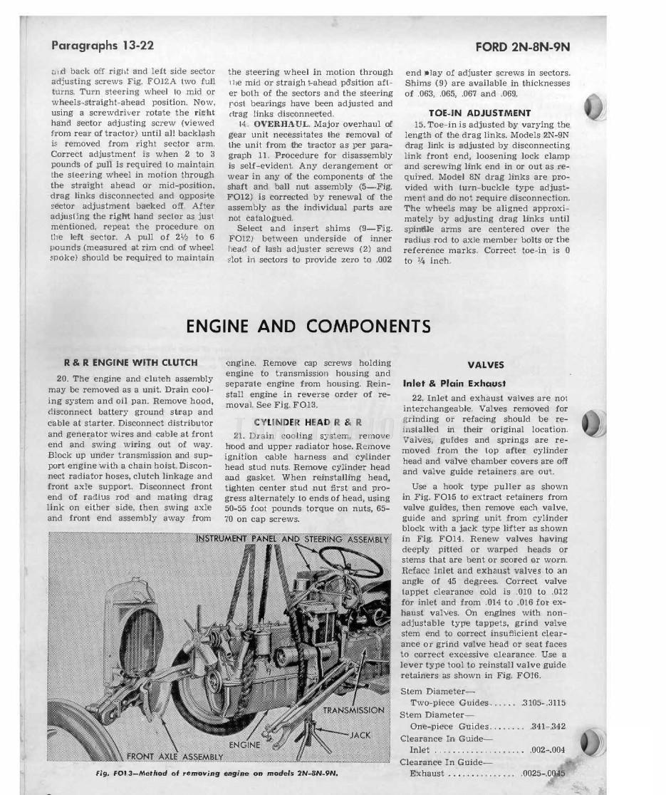 Ford Tractor Series 2n 8n 9n Shop Manual Steering 0025 00 15