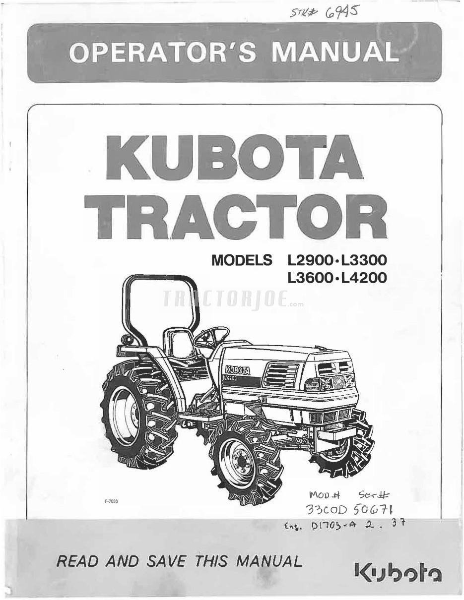 Kubota L2900, L3300, L3600, L4200 Tractor Operator Manual | TractorJoe.com
