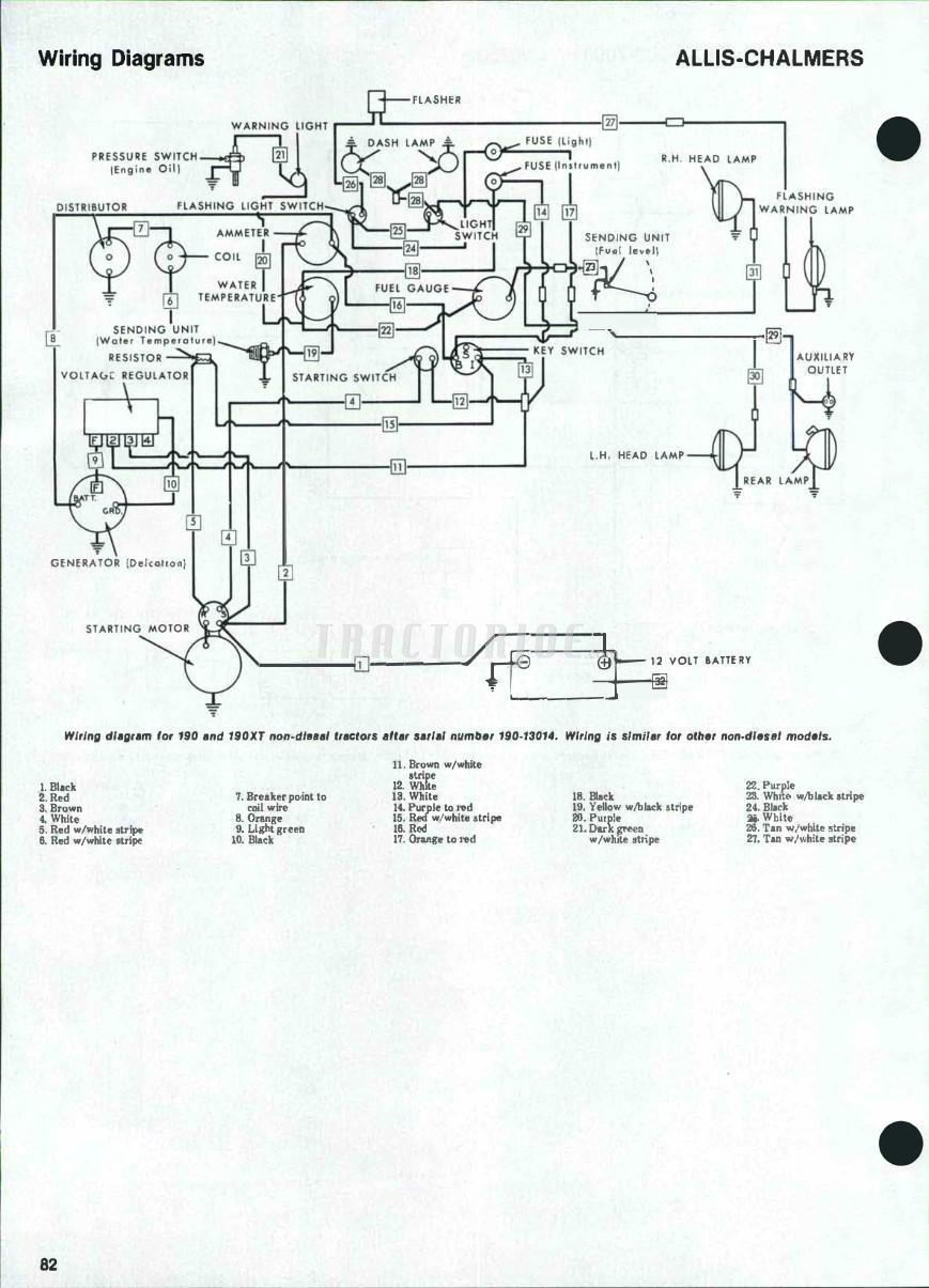 Allis Chalmers 7000 Wiring Diagram Blog About Diagrams 14 Volt Battery Models 180 185 190 190xt 200 Shop Manual Model C Tractor
